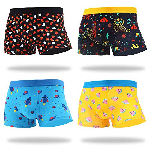 MAKABO Men's Boxer Briefs 4 Pack Novelty Colorful Funny Breathable Comfortable Cotton Casual Underwear (Medium, Fun Funny Boxer)