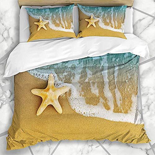 Beddengoedset voor beddengoed, textuur na of ster, zomer, zeester, op de zandbak, natuur, macro texturen, oppervlak van de Marea slaapkamer, zacht.