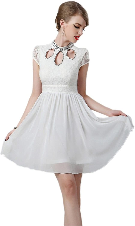 Dearta Women's ALine High Neck Short Sleeves Mini Short Bridesmaid Dresses