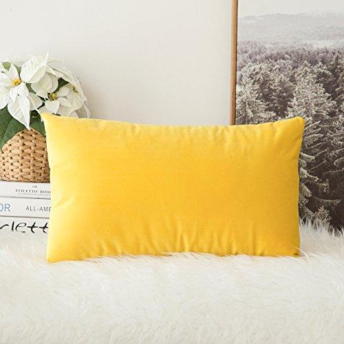 MIULEE Terciopelo Funda de Cojine Funda de Almohada del Sofá Throw Cojín Decoración Almohada Caso de la Cubierta Decorativo para Sala de Estar 30x 50cm 12 x 20 Pulgadas 1 Pieza Amarillo limón