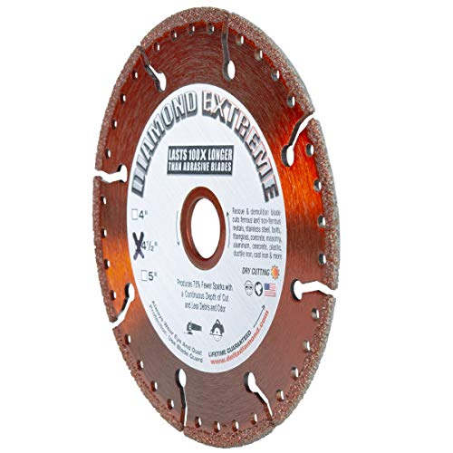 """Delta Diamond Extreme Metal Diamond Blade 4.5-inch Heavy Duty All-Purpose Cutting/Grinding of Rebar Angle Iron Sheet Metal Stainless Steel (4-1/2"""")"""