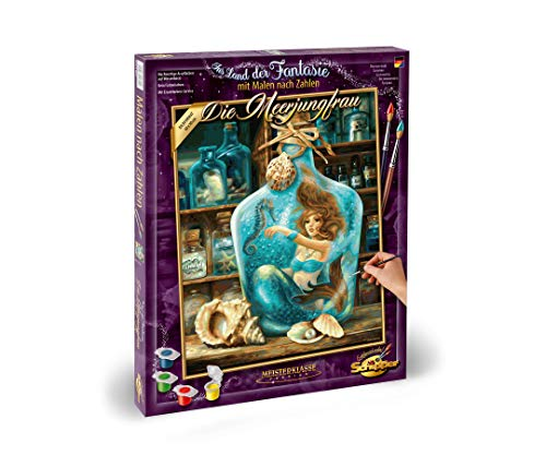 Schipper 609130844 Zahlen, Die Meerjungfrau-Bilder malen für Erwachsene, inklusive Pinsel und Acrylfarben, 40 x 50 cm