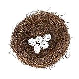 vosarea nido di uccelli artificiali con uova case per uccelli in rattan 15 cm 5 pezzi uova di uccelli finte per matrimonio festival di pasqua decorazione della casa oggetti di scena