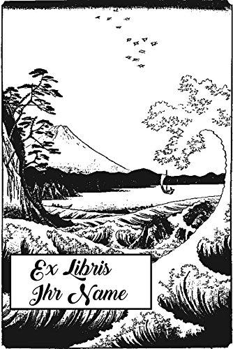 Personalisierbarer Ex Libris Stempel Welle und Berg Fuji, Japan