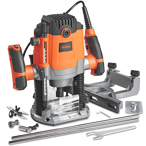 "VonHaus 1600W Router Tool With 1/2"" and 1/4"" Collet – Woodworking Power Tool – Soft Start and Variable Speed Functions"