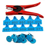 100 Sets Numbered Plastic Ear Tags Livestock Identificationfor Earring for Calves Sheep Cattle Cows Pigs(Blue) with 1 pcs Plier Applicator