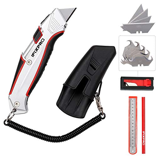 IFIXPRO self-retracting box cutter with holster with belt clip, auto retractable safety utility knife with total 10 pcs SK5 blades, aluminum shell with rubber grip