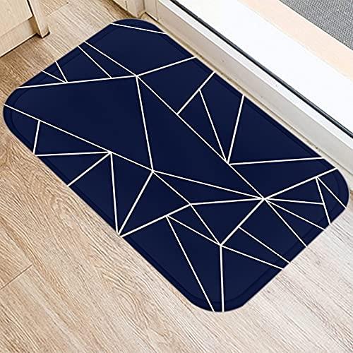OPLJ Alfombrilla de Cocina con patrón geométrico Azul Marino, Alfombrilla de Puerta para decoración de Interiores, Alfombra Absorbente Antideslizante para baño A4 40x60cm