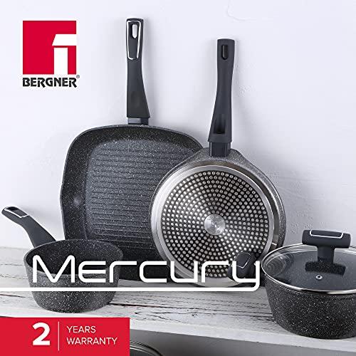 Bergner Colección Mercury 6 piezas: Set de sartenes: Ø20x4,3; Ø24x4,7 y Ø28x5,2; Sartén Wok de Ø28x7,2; Sartén Grill Asador de 28x28 cms. y Cazo Ø16x7,5 cms., aluminio forjado, inducción
