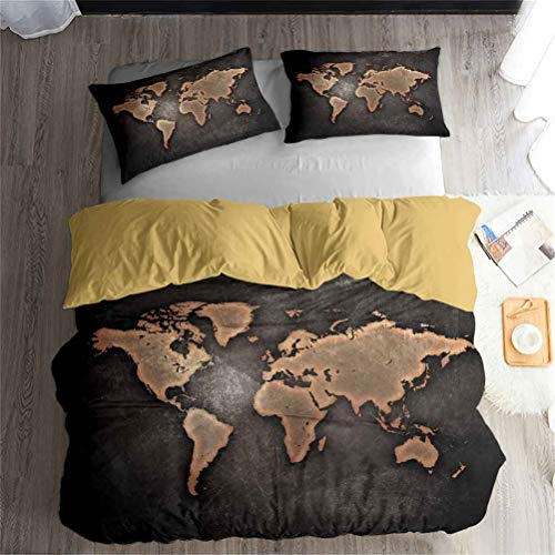 Ekhill Jon Mapa del Mundo National Geographic posición Lujo Ropa de Cama Set - Funda nórdica y 2...
