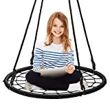 Display4top Spider Web Tree Swing,40' Round Outdoor Web Tree Net Swing,Rope Swing, Durable Adjustable Hanging Ropes, Easy Install - for Kids, Adults and Teens (Black)
