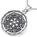 Collar de brújula para mujer, colgante de plata esterlina, Maya Calendario Joyería Encanto