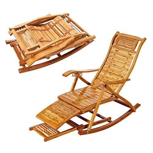 SPARROW Mecedora de bambú Tradicional de Hogares reclinable Plegable Balcón Jardín Ocio...