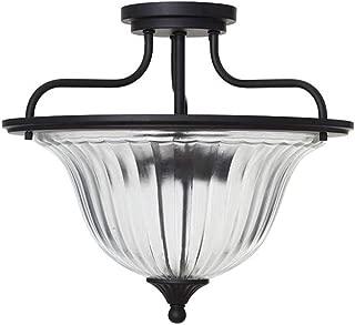 Ravenna Home Ribbed Glass Semi-Flush Mount Ceiling Pendant Light With LED Light Bulb - 15 x 15 x 13 Inches, Dark Bronze