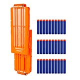 Little Valentine Flip Clip Upgrade Kit, 2 Pack 12-Dart Quick Reload Clip with 30 Dart Refill Pack for Nerf N-Strike Elite Series (Orange)
