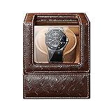 N\C Cajas giratorias para Relojes, Reloj único automático WindeBox 5 Modo de rotación Dual PoweSupply Reloj Flexible Almohada Patrón de Avestruz Leathe LKWK
