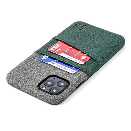 Dockem iPhone 11 Pro Max Wallet Case: Built-in Metal Plate for Magnetic Mounting & 2 Card Slots (6.5' Luxe M2 Synthetic Leather, Green & Grey)