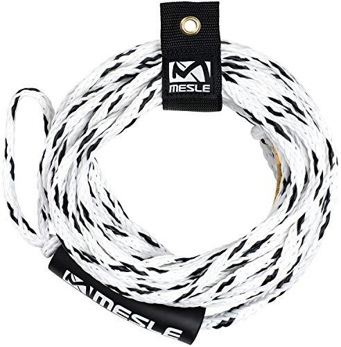 MESLE Schleppleine Pro 2P 60', mit Schwimmer, schwimmendes Schlepp-Seil für 2-Personen, weiß-schwarz, Länge 18,3 m, Polyethylen, Zug-Seil, Schwimmfähig, jeweils Auge an Enden, Fun-Tube, Tow-able