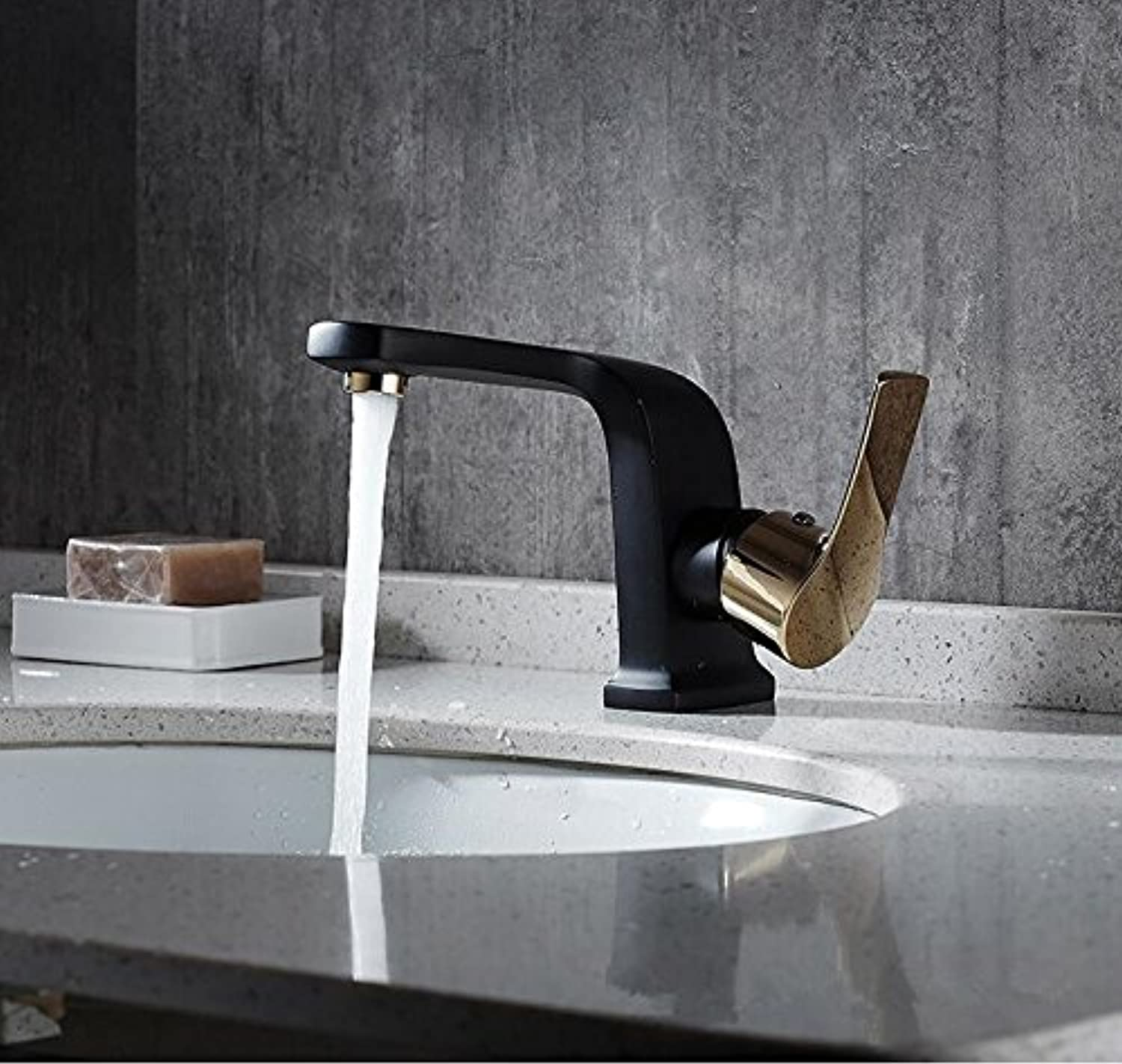 New, Black, gold, Copper, Cold, Cold And Hot Pots, Water Faucets, Single Hole, Single Hole, And Lower Basin European Art Faucet,B Black gold