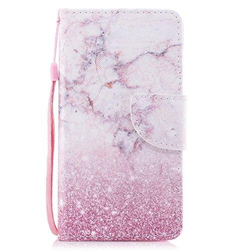 ShinyCase Funda Huawei P8 Lite 2017, Cuero PU Carcasa Libro de Wallet Case Cover Función de Soporte Concha Ranuras Tarjetas Protectora TPU Cierre Magnético Tapa para Huawei P8 Lite 2017 Mármol Rosa
