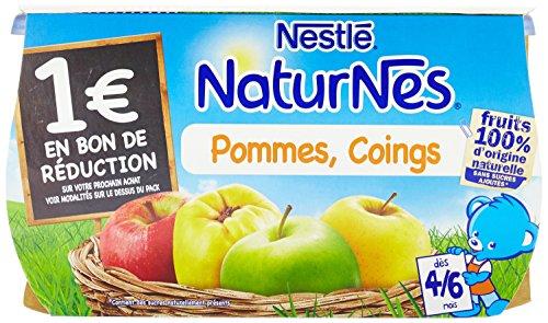 Nestlé Bébé Naturnes Compote Pommes Coings dès 4 mois 4 x 130g