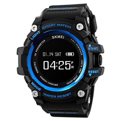 Los Deportes Inteligentes de los Hombres Miran el Reloj electrónico Digital Multifuncional Impermeable de los Estudiantes de la Tabla de Bluetooth,E