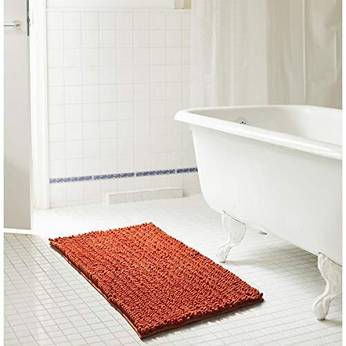 Cali 20 x 32 in. High Pile Chenille Bath Mat Skid Resistant Terracotta