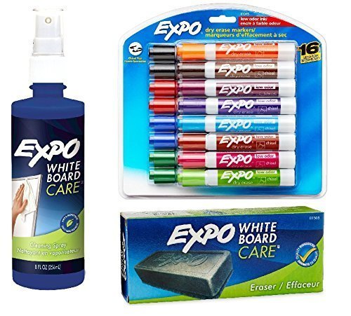 Expo 2 Low-Odor Dry Erase Markers, Chisel Tip, 16-Pack, Assorted Colors (81045) with Expo Whiteboard / Dry Erase Board Liquid Cleaner, 8-ounce and Expo Whiteboard Eraser, 5 1/8-inch