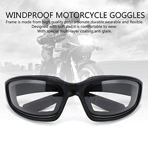 Motorradbrille Schutzbrille Fahrradbrille Radsportbrille Skibrille mit UV400 Outdoor Schutz für Damen und Herren Sonnenüberbrille Autofahren Laufen Radfahren Angeln transparent By Yxaomit - 2