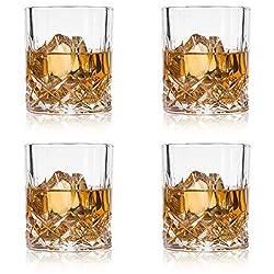GLASKEY Whiskey Glasses, Set of 4 Scotch Glass Tumblers for Drinking Bourbon, Cognac, Irish Whisky, Large 7-12oz Premium Lead-Free Crystal Old Fashioned Glass (10oz, 3.0 (W) x 3.2(H))