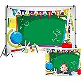 YongFoto 5x3ft Teacher Background Backdrop Back to School Backdrop Cartoon Red Apple Tellurion Blackboard Classroom Background Online Teaching Backdrop