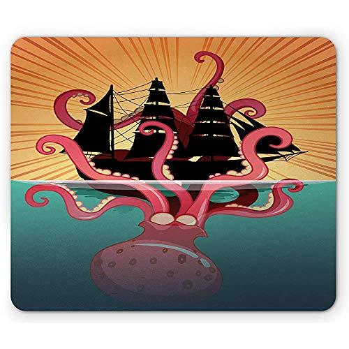 Kraken Mouse Pad, Koraal Zee Monster Zinkende De Boot Retro Mythen Ocean Folk Stories Geïnspireerd Artwork, 25x30cm Antislip Rubber,
