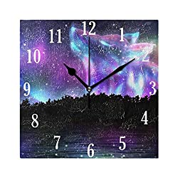 Dozili Aurora Howling Wolf Round Wall Clock Arabic Numerals Design Non Ticking Wall Clock Large for Bedrooms,Living Room,Bathroom