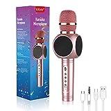 ERAY Micrófono Karaoke Bluetooth, Karaoke con Micrófono, Microfono Inalambrico Karaoke 4 en 1, 2 Altavoces, 3.5mm AUX, Compatible con Smartphone, Buen Regalo para los Niños, Color Rosa (Modelo E103)