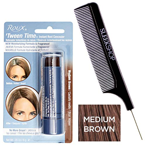 Roux TWEEN TIME Instant ROOT CONCEALER Hair Crayon, No More Grays (w/Sleek Steel Pin Tail Comb) Blend Grey, Hair Color Dye 0.28 oz / 8g, NEW Moisturizing Formula & Fragrance (Medium Brown)