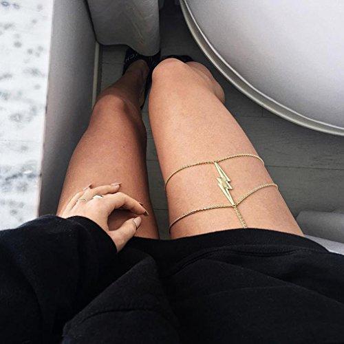CanVivi Körperschmuck Damen Beinkette Anhänger Körperkette Bikini Silber Gold für Frauen