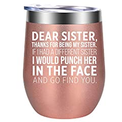BEST SISTER GIFTS: Characterized by its saying on the cup, this pretty tumbler makes a funny gift for your sister and bestie. Cute little present for big sister, unbiological sister, soul sister, best sister, little sister, twin sister, older sister,...