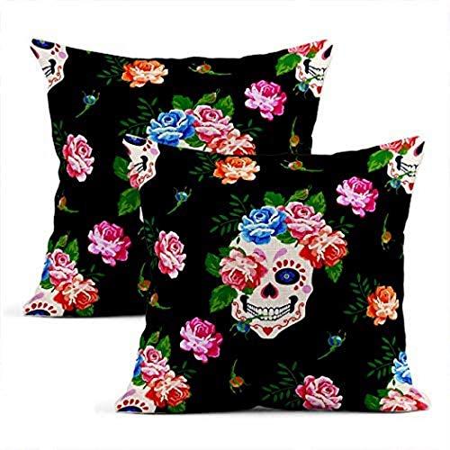 Juego de 2 fundas de cojín Lino Colorido Frida Calavera y rosa Floral Rosa Kahlo Fundas de almohada Cuadradas Suaves Decoración para el hogar Diseño Fundas de almohada Sofá de dormitorio 20 x 20 pulga