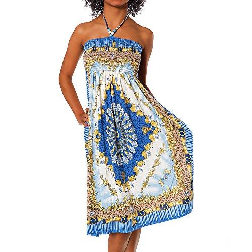 Diva-Jeans Damen Sommer Aztec Bandeau Bunt Tuch Kleid Tuchkleid Strandkleid Neckholder H112, Größen:Einheitsgröße, Farben:F-028 Blau