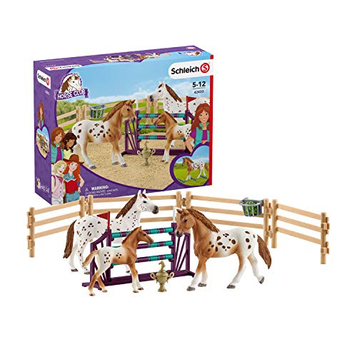 Schleich Horse Club Lisa?s Tournament Training with Appaloosas 11-piece Educational Playset for Kids Ages 5-12