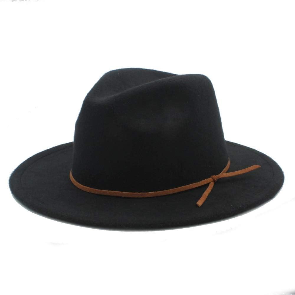 L.W.SUSL Men Women Winter Wool Fedora Hat Dance Party Hat Wide Brim Church Fascinator Hat (Color : Black, Size : 56-58)