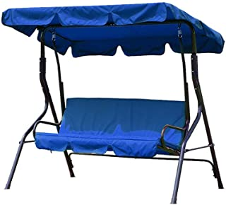 dDanke 3 Seater Garden Swing Replacement Canopy Cover Heavy Duty UV Block Sun Shade Waterproof for Outdoor, 195x125cm, Blue