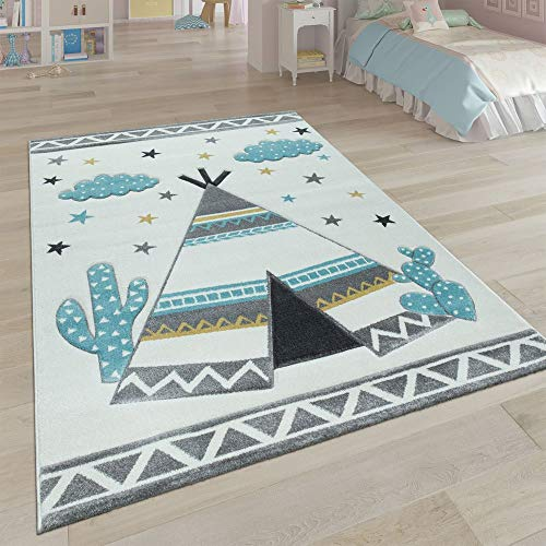 Paco Home Kinder-Teppich, Kinderzimmer Pastell Farben, Indianer-Zelt Motiv 3-D, in Cream Grau, Grösse:Ø 133 cm Quadrat