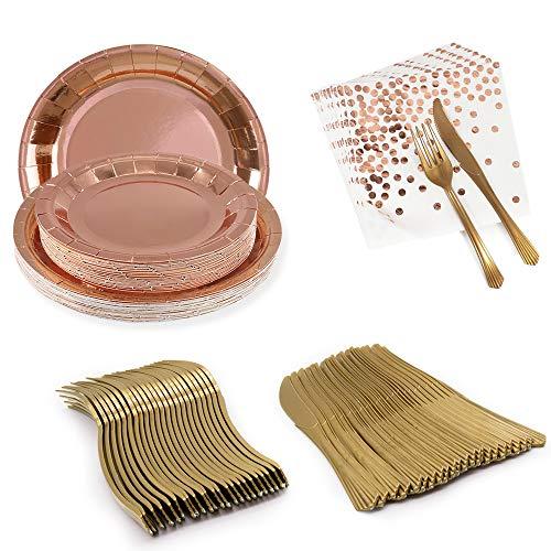 APERIL 120 piezas Juego de vajilla reutilizable, platos de fiesta, platos de...