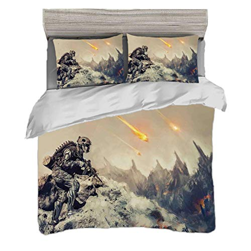 Bettwäscheset King Size (220 x 240 cm) mit 2 Kissenbezügen Weltraum-Dekor Mikrofaser-Bettwäsche-Sets Futuristischer mechanischer bewaffneter Soldat im Kampf-ausländischen Planeten retten das Weltbild,