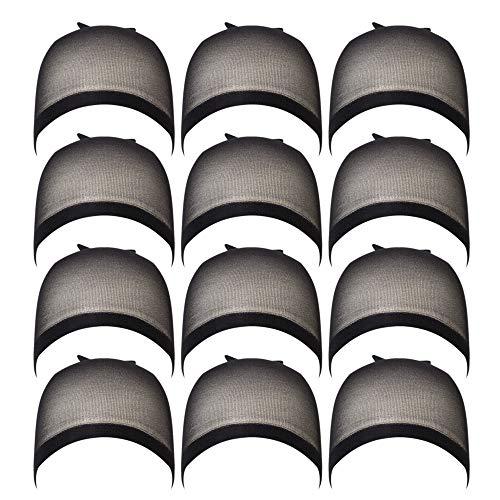 WEIMOB 12pcs Nylon Cap de Perruque Chapeau Extension de Cheveux Stretchy Bonnet Tissage Wig Cap