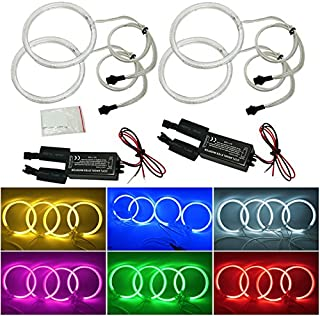 FEELDO 4X Car CCFL Halo Rings Angel Eyes LED Headlights for BMW E32 E34 E30 DRL Car-Styling 6-Color