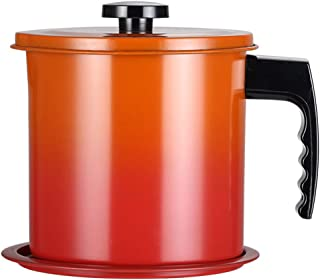OnePine 1300ml Olla de Colador de Aceite Filtro Aceite Oliva Cocina con 304 Acero Inoxidable Malla Fina Colador y Tapa con Plato Base