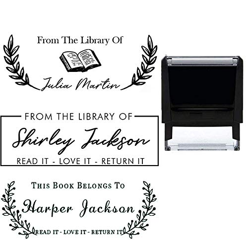 """Library Book Name Stamp Wedding Thank You Stamp This Belongs to Personalized Self-Inking or Wood Handle Custom Classroom Library Teacher Customized Name from The Ex-Libris of 7/8"""" x 2 3/8"""" Prime"""