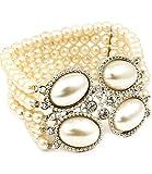 Clear gem &-Bracciale elastico con perle sintetiche, per gioielli da sposa